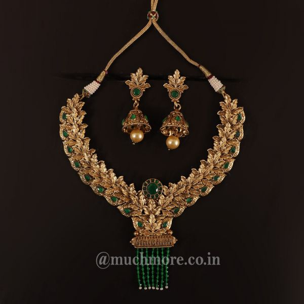 Emerald Green And Gold Polish Necklace Set
