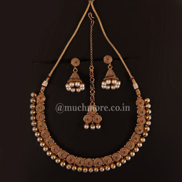Ruby Green Necklace Earring Tikka Set