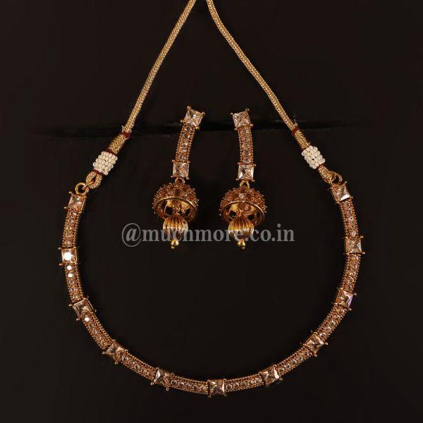 Stylish Stone Studded Gold Polish Necklace Jhumki Earrings