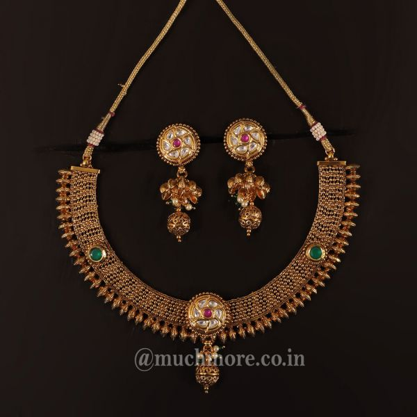 Classy Ethnic Antique Polish Ruby Green Necklace