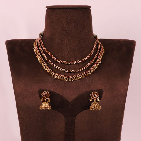 Three layer Ruby Necklace With jhumka Earrings