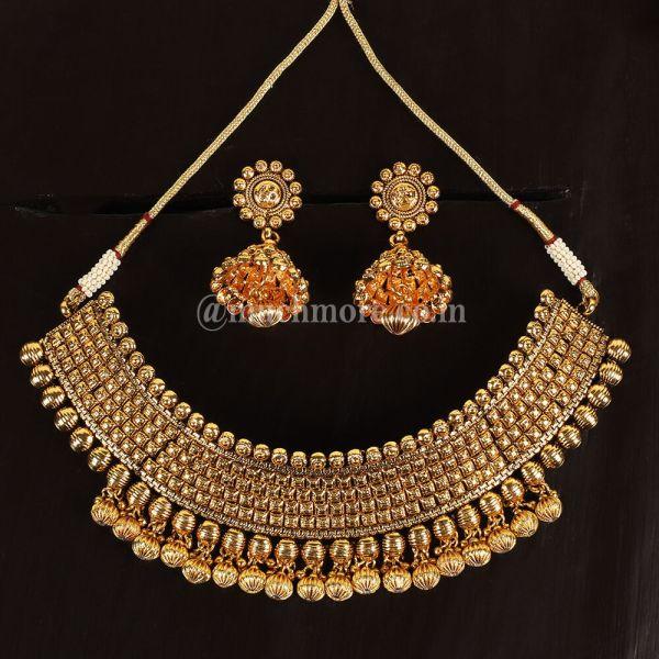 Gold Tone Polki Necklace Set