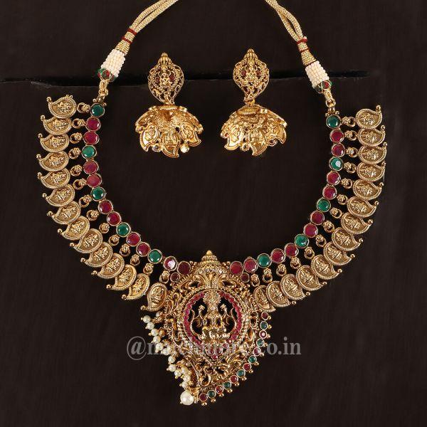 Gold Plated Maa Laxmi Necklace Set