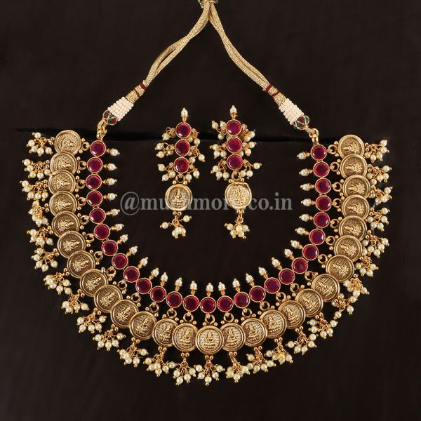 Ruby Ginni Goddess Laxmi Necklace With Earrings