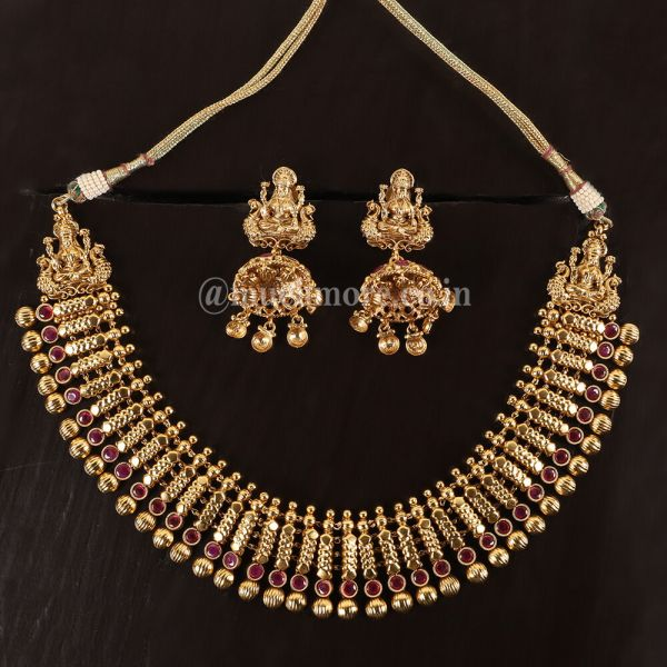Indian Traditional Gold Plated Ruby Necklace Set