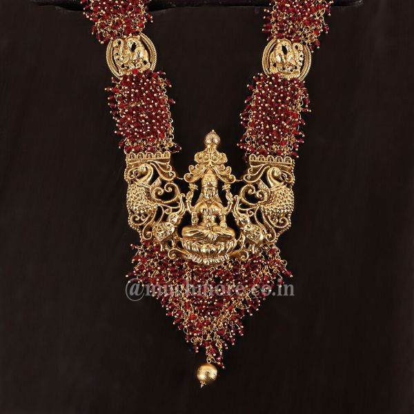 Ruby Temple Work long Necklace with Jhumkis