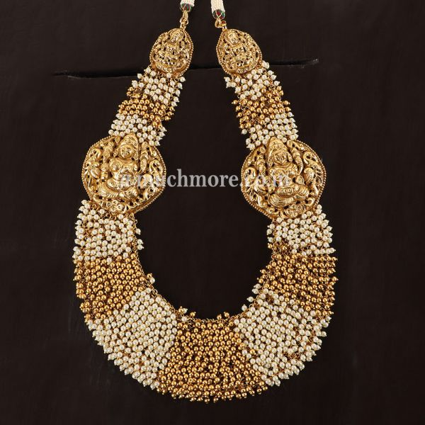 Pearl Inspired broad Temple Necklace set