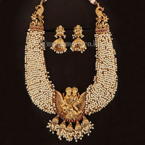 Pearl Inspired Haaram Long Temple Necklace