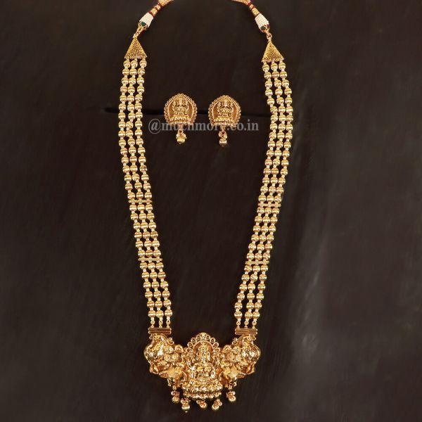 Gold Tone Temple Work Necklace Set