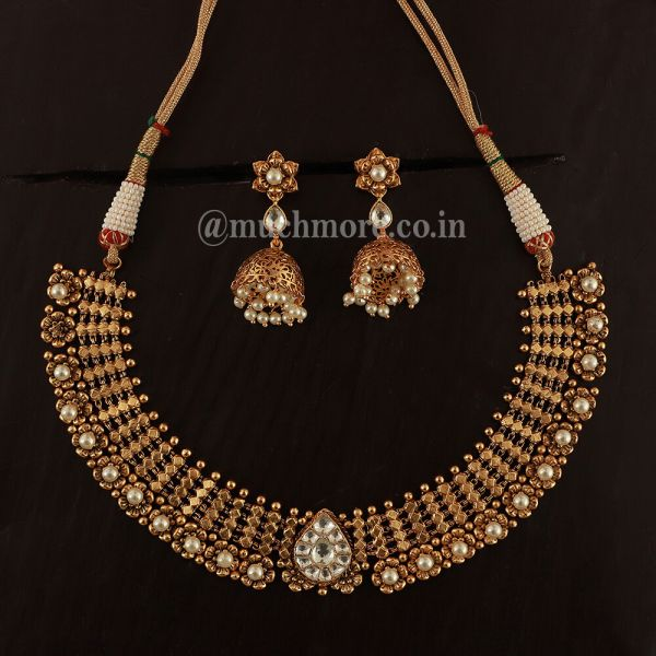 Goldnera Ethnic Gold Look Necklace With Jhumka