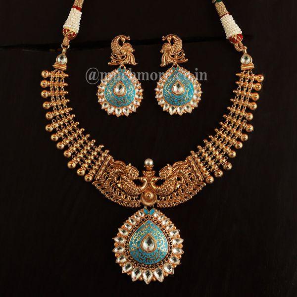 Pendant Style Peacock Necklace Earring Jewellery Set