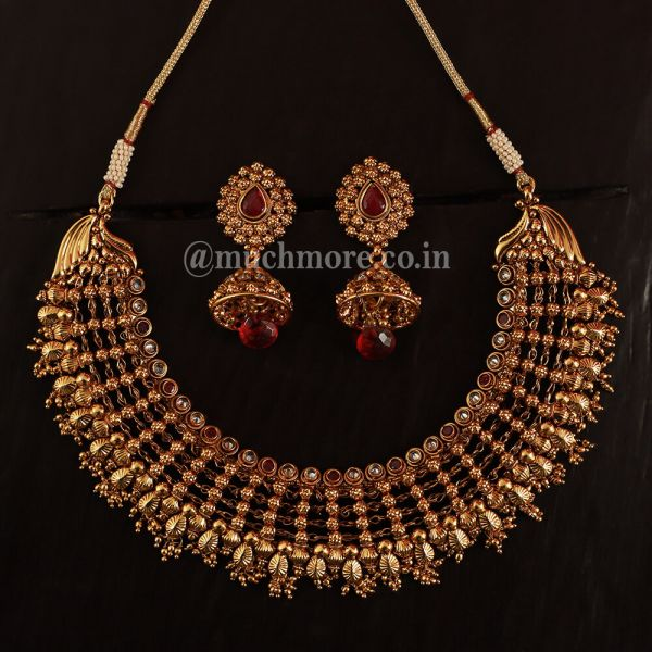 Ruby Drop Gold Plated Indian Necklace Set