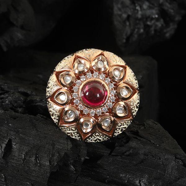 Kundan Meenakari Finger Ring