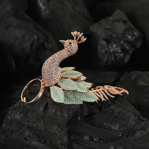 Peacock Kundan Meenakari Finger Ring