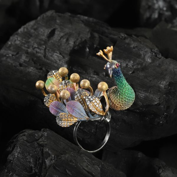 Peacock Diamond Finger Ring