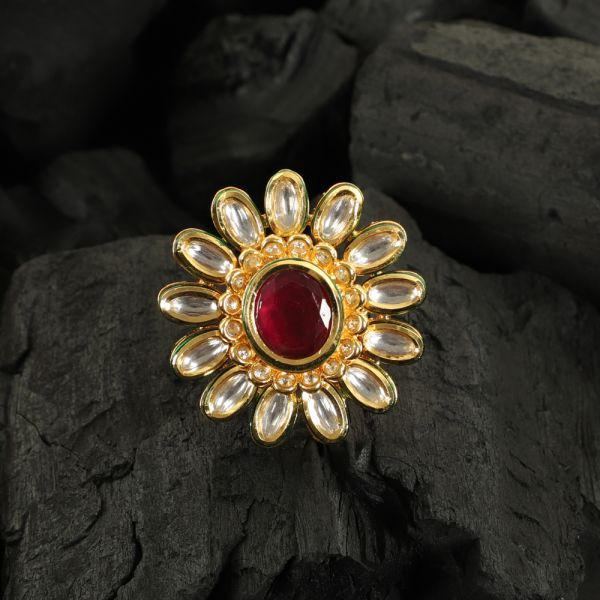 Kundan Ruby Finger Ring