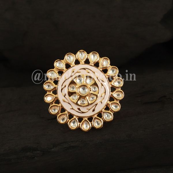 Gold Tone Kundan & Meena Ethnic Finger Ring