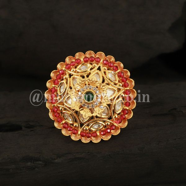 Ruby Green Gold Tone Kundan Ring
