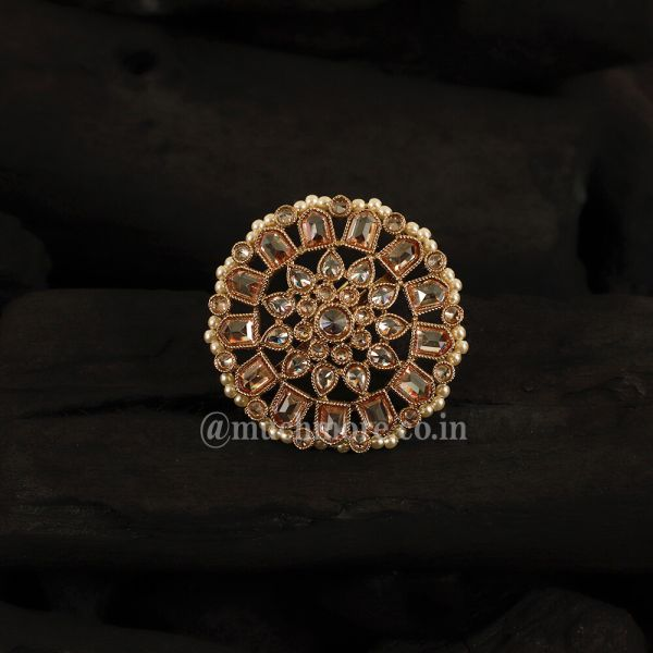 Circle Shape Gold Stone Ring For Women