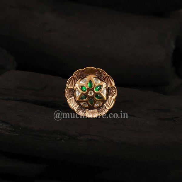 Green Classic Adjustable Handcrafted Kundan Ring