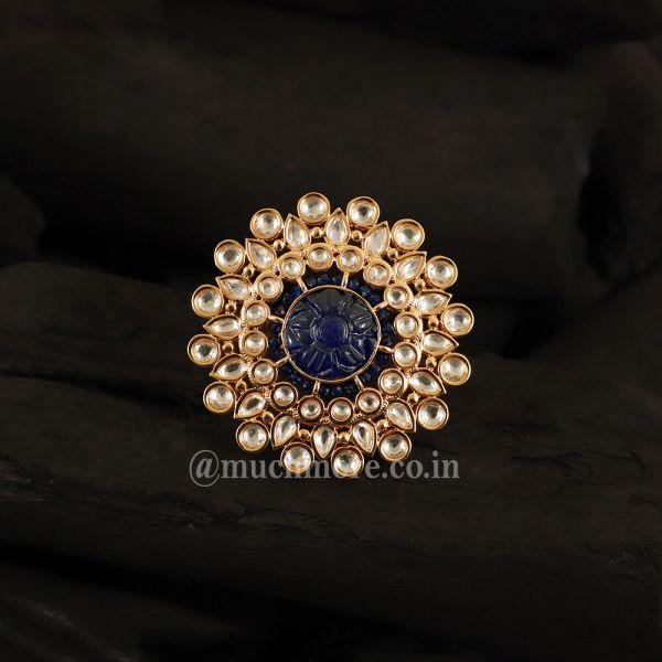 Gold-Plated Kundan-Studded Adjustable Floral Big Ring