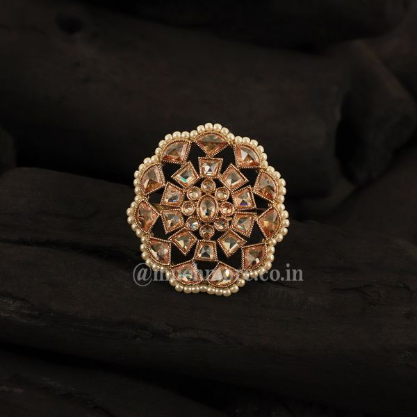 White Gold Plated Handcrafted Adjustable Ring