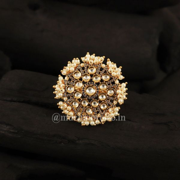 Gold Plated Kundan Adjustable Ring With Pearls