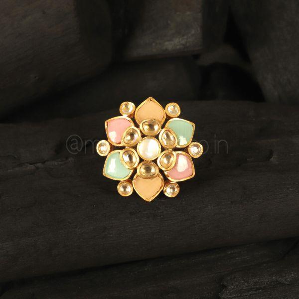 Designer Gold Polish Navratna Traditional Ring Buy Online