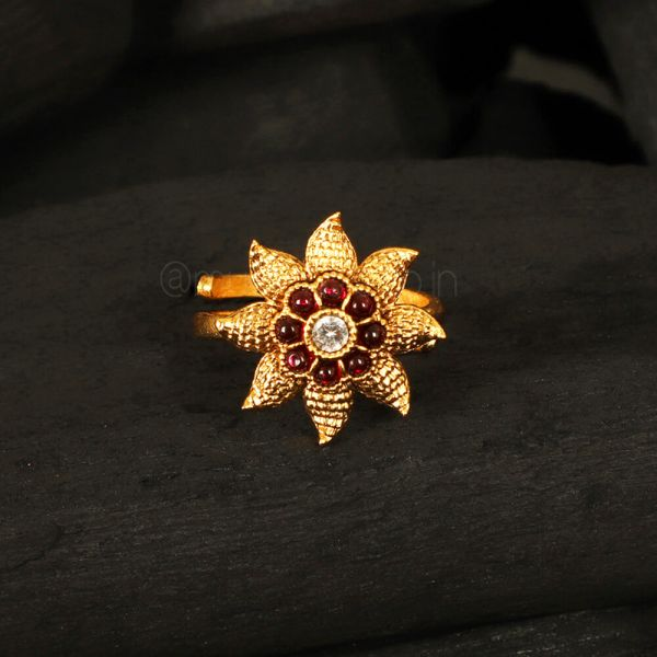 Traditional Ruby Flower Women Ring Online