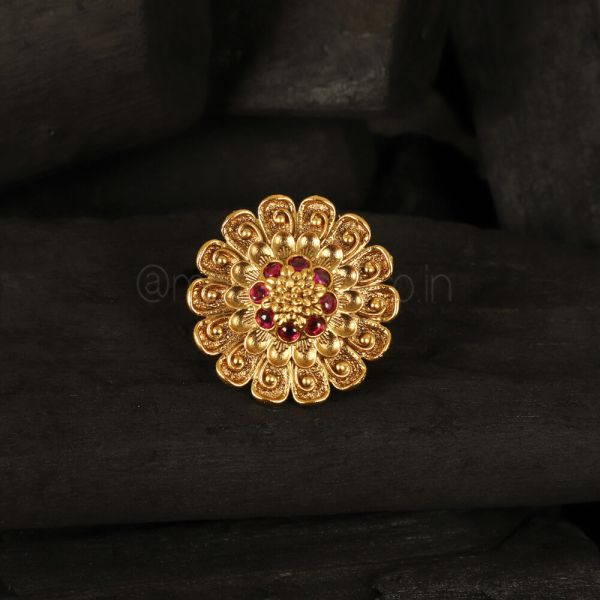 Classical Flower Ring with Ruby Gemstone Resizable Finger Ring