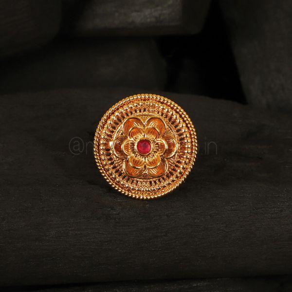 Hand Crafted Ruby Flower Ring