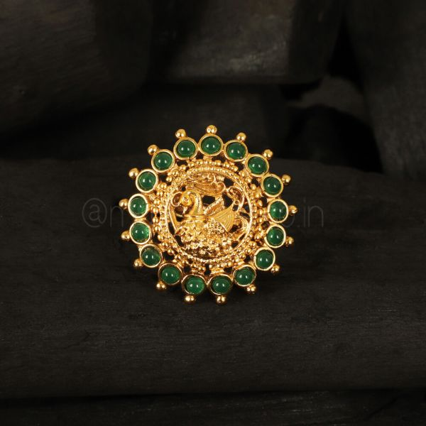 Emerald green Peacock Traditional Ring