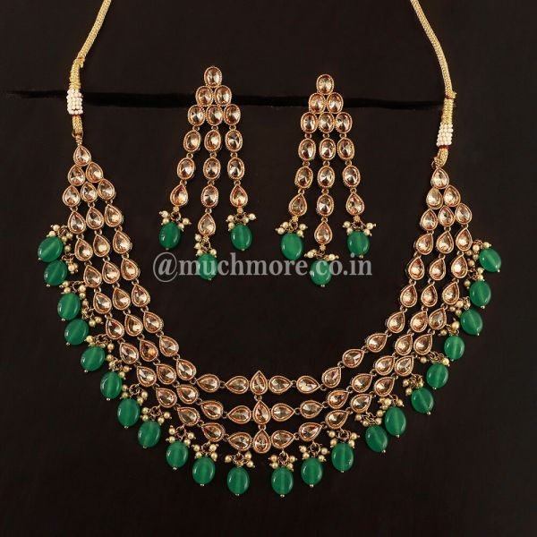 Emerald Green Layred Antique Necklace set