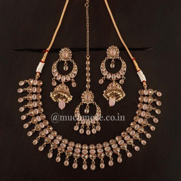 Light Pink Drop Necklace With Big Jhumka Tikka Set