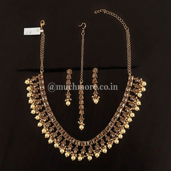 One Line Simple Gold Tone Necklace Set