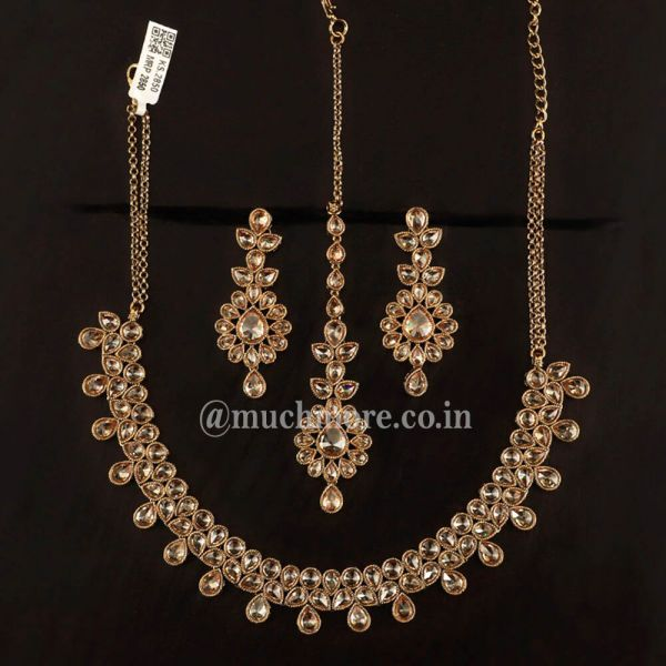 Classic Gold Tone Necklace With Earrings Tikka