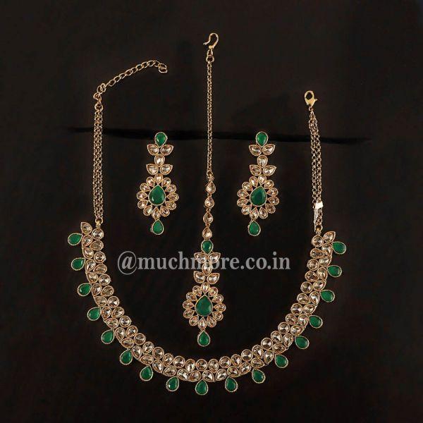 Dark Green Light Necklace With Tikka Earring