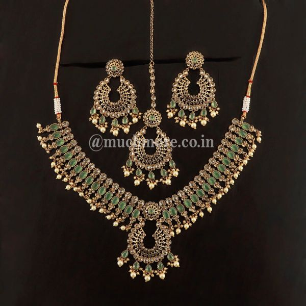 Antique Gold And Mint Green Necklace Jewellery Online