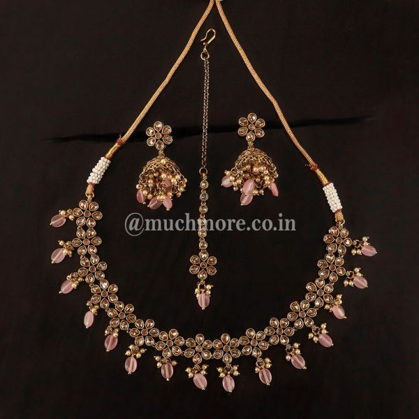 Light Pink Necklace With Small Jhumki And Tikka