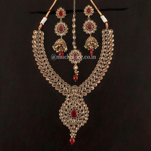 Pendant Style Ruby Necklace Earring Tikka