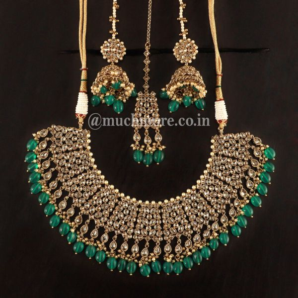 Bridal Heavy Dark Green Necklace With Earrings Kaan Chain And Tikka