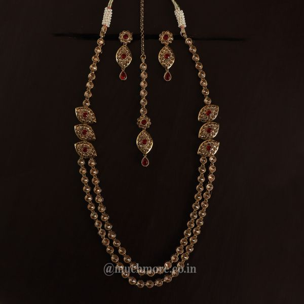 Gold Tone Ruby Necklace Double Layer For Women