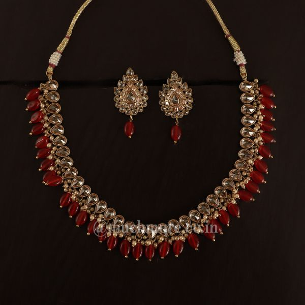 Designer Ruby And Gold Tone Necklace Set Jewellery