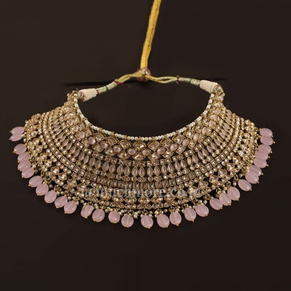Wedding Jewelry Choker Set With baby Pink Color