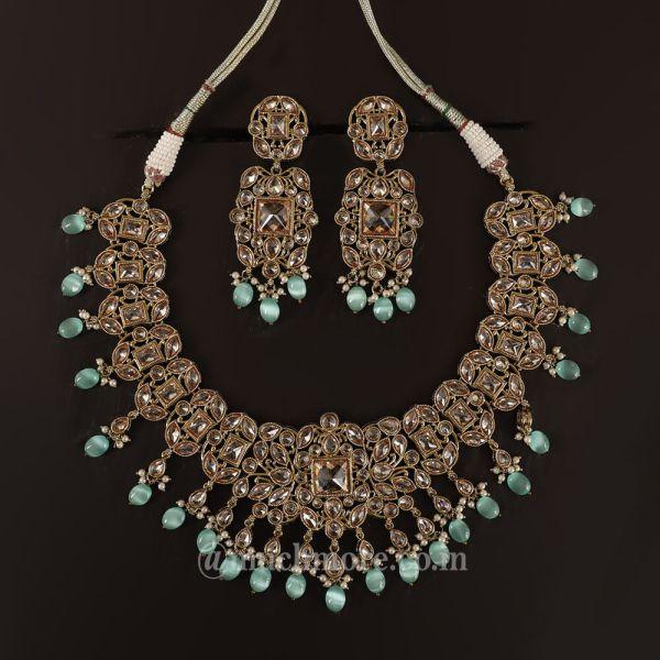 Mint Green Drop Antique Necklace Set For Woman