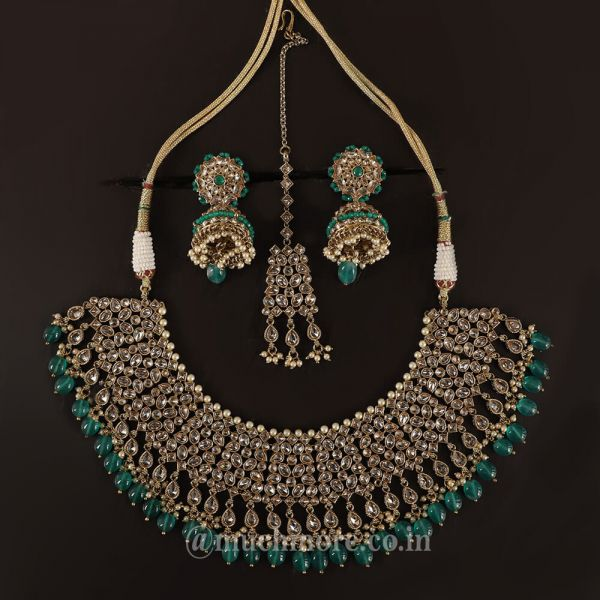 Emerald Green Bridal Necklace With Earrings Tikka