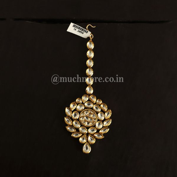 Kundan And gold Maang Tikka With White Stones