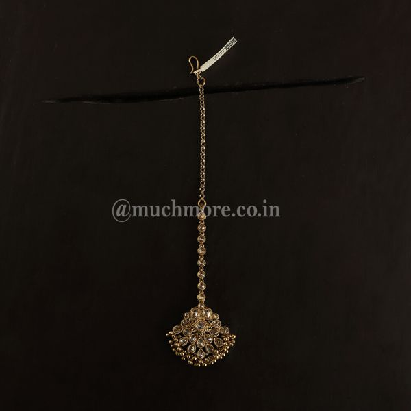 Antique Gold Tone Small Chunky Maang Tikka