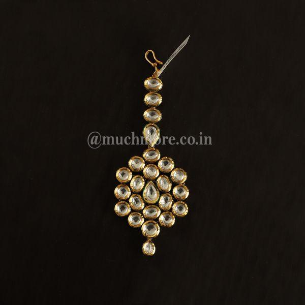 Traditional kundan White And Gold  Maang Tikka