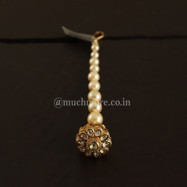 White Gold Plated Borla Tikka With Pearl String